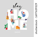 stay at home  concept design.... | Shutterstock .eps vector #1697639329