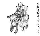human skeleton is sitting in... | Shutterstock .eps vector #1697645236