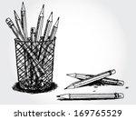 still life with pencils | Shutterstock .eps vector #169765529