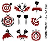 Darts labels and icons set. Vector