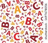 red abc letter seamless... | Shutterstock .eps vector #1697678056