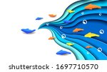 blue water paper cut with color ... | Shutterstock .eps vector #1697710570