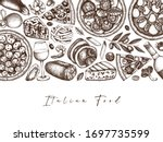 hand drawn pizza  pasta ... | Shutterstock .eps vector #1697735599