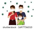 covid 19 pandemic. family ... | Shutterstock .eps vector #1697736310