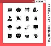 editable vector line pack of 16 ... | Shutterstock .eps vector #1697748583