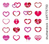 heart icon set. vector... | Shutterstock .eps vector #169775750