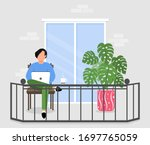a man works on a laptop ... | Shutterstock .eps vector #1697765059