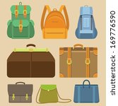 vector set of flat icons   bags ... | Shutterstock .eps vector #169776590