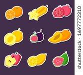 set of summer fruit stickers.... | Shutterstock .eps vector #1697772310