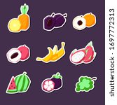 set of summer fruit stickers.... | Shutterstock .eps vector #1697772313
