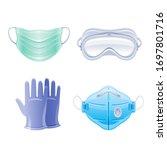 ppe icon set. corona virus... | Shutterstock .eps vector #1697801716