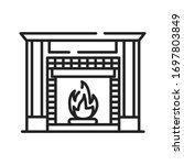 fireplace black line icon....
