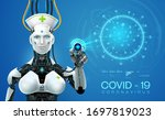 ai robot mediic with corona...   Shutterstock .eps vector #1697819023