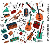 music. big set of icons for...   Shutterstock .eps vector #1697820613