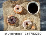 Break at work with coffee and donuts - stock photo