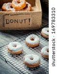 Donuts with powder sugar - stock photo