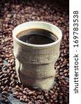 Closeup of freshly hot coffee - stock photo