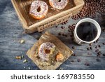 Lunch with donuts and coffee - stock photo