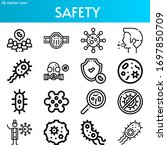safety line icon set on theme... | Shutterstock .eps vector #1697850709