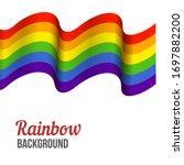 waving rainbow flag on white... | Shutterstock .eps vector #1697882200