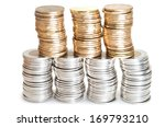 Stacks Of Canadian Coins On...