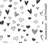 heart doodles seamless pattern. ... | Shutterstock .eps vector #1697945689
