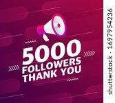 megaphone with 5000 followers...   Shutterstock .eps vector #1697954236