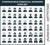 coronavirus icon set essential... | Shutterstock .eps vector #1697957683