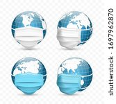earth globe in medical face... | Shutterstock .eps vector #1697962870