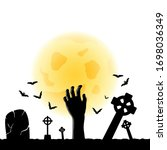 happy halloween greeting card....   Shutterstock .eps vector #1698036349