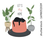let's stay home. cat sleeping... | Shutterstock .eps vector #1698052039
