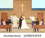 wedding ceremony in church... | Shutterstock .eps vector #1698053959