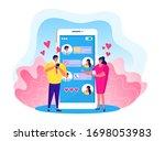 online love chat vector... | Shutterstock .eps vector #1698053983