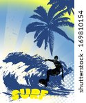 surfer silhouette on grunge background - stock photo
