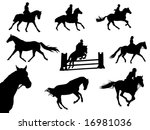horses and riders silhouettes | Shutterstock .eps vector #16981036