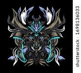 black samurai monster vector...   Shutterstock .eps vector #1698136033
