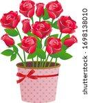red rose flower vector... | Shutterstock .eps vector #1698138010