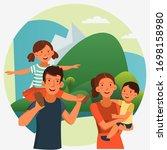 happy family having fun.... | Shutterstock .eps vector #1698158980