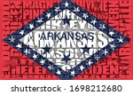 Image relative to usa travel. Arkansas state cities list. 3D rendering