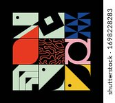 brutalism art inspired abstract ... | Shutterstock .eps vector #1698228283