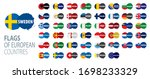 set of flags of europe. vector... | Shutterstock .eps vector #1698233329