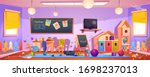 messy room in kindergarten with ... | Shutterstock .eps vector #1698237013