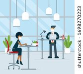 people come back to work to... | Shutterstock .eps vector #1698270223