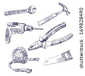 drawn tools set | Shutterstock .eps vector #169828490