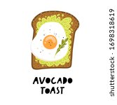 avocado toast. fresh toasted... | Shutterstock .eps vector #1698318619