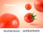 Fresh Flying Tomatoes On A Red...