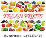 fruits and berries  exotic... | Shutterstock .eps vector #1698371419
