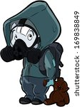 kid in a gas mask | Shutterstock .eps vector #169838849