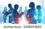 teamwork concept. silhouettes... | Shutterstock . vector #1698393820