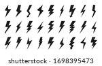 Black Lightning Bolt Icon Set....